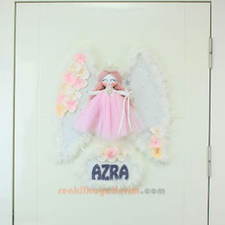 Azra isimli Açeyla Melek Kanatlı Kız Bebek Kapı Süsü Tam Boy
