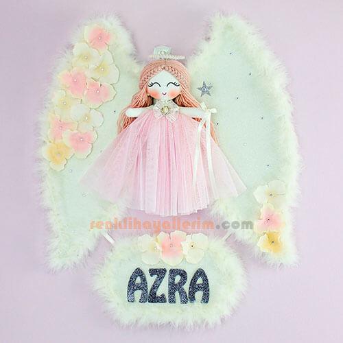 Azra isimli Açeyla Melek Kanatlı Kız Bebek Kapı Süsü