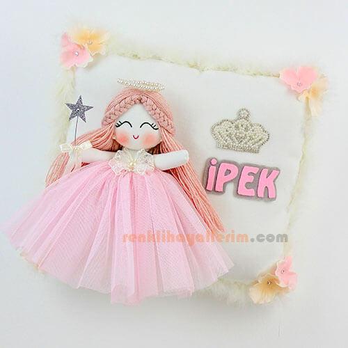 Açelya melek kız bebek takı ve süs yastığı