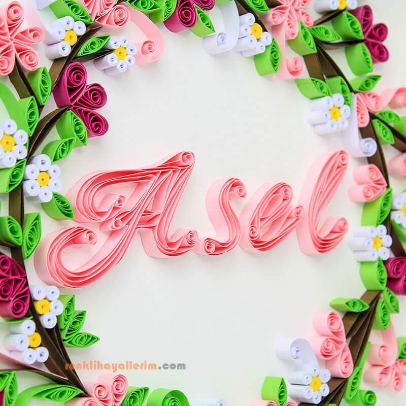 Asel isimli çiçekli quilling çerçeve tablo
