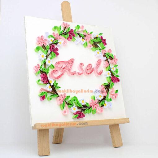 Asel isimli çiçekli kağıt telkari tablo quilling