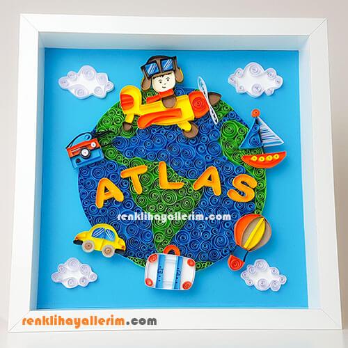 Atlas isimli Quilling Duvar Süsü Çerçeve