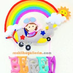Beren isimli Kız Pilot Çocuk Gri Uçak Bebek Süsü Gökkuşağı