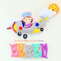 Kız Pilot Çocuk Gri Uçak Bebek Süsü