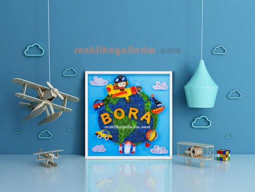 Bora isimli Merhaba dünya quilling bebek odası duvar süsü