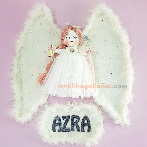 Azra isimli Karanfil Melek Kanatlı Kız Bebek Kapı Süsü