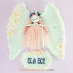 Ela Ece isimli Kardelen Melek Kız Bebek Kapı Süsü
