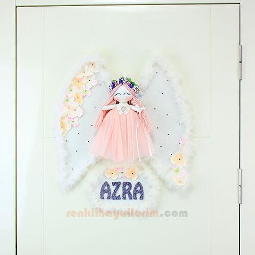 Azra isimli Kardelen Melek Kız Bebek Kapı Süsü