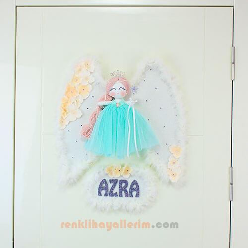 Azra isimli Lale Melek Kanatlı Kız Bebek Kapı Süsü