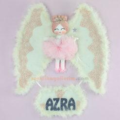 Azra isimli Lupin Melek Kanatlı Kız Bebek Kapı Süsü