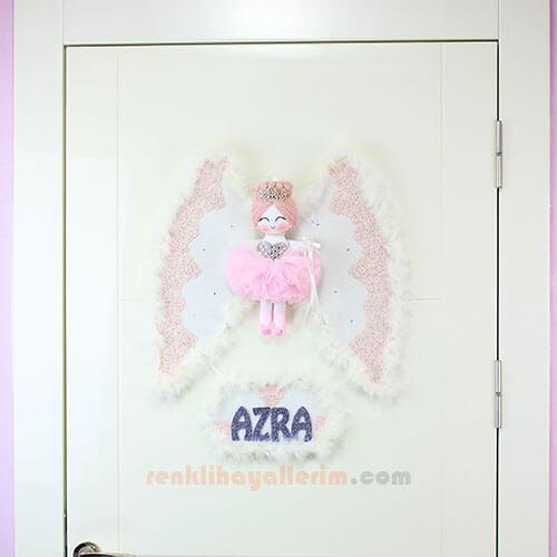 Azra isimli Lupin Melek Kanatlı Kız Bebek Kapı Süsü Kapı