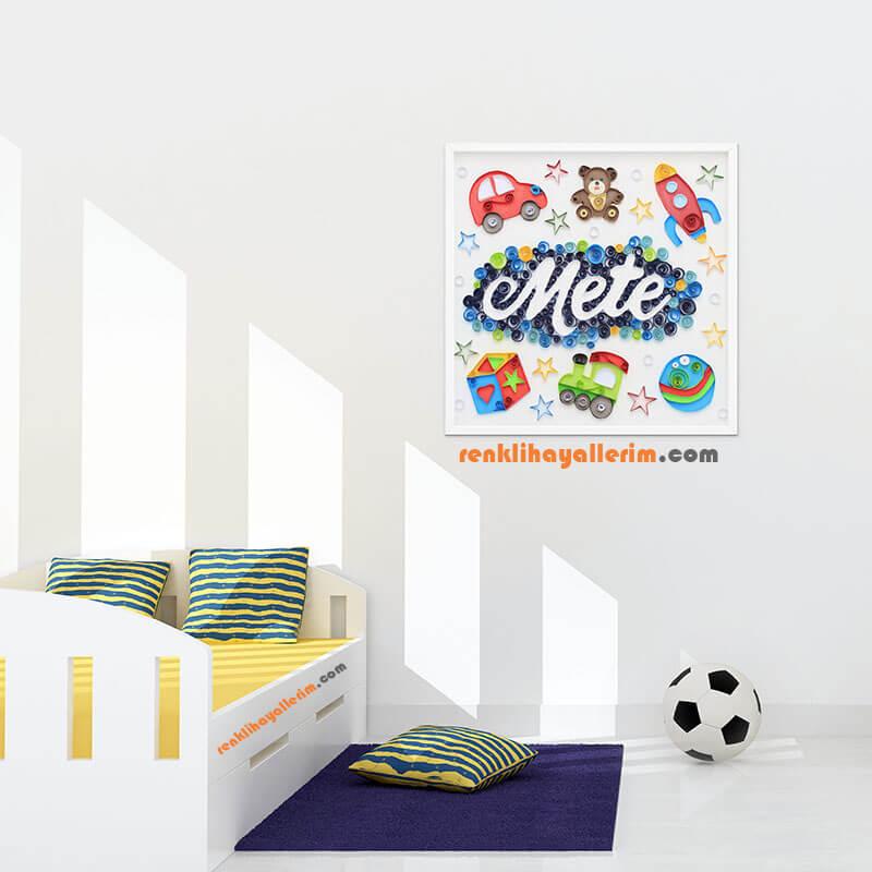 Mete isimli Quilling bebek odası duvar aksesuarı