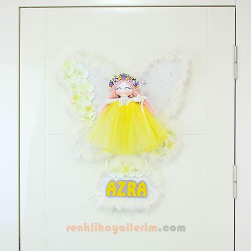 Azra isimli Orkide Melek Kız Bebek Kapı Süsü