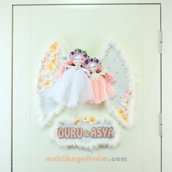 Duru Asya isimli Petunya Melek kanatlı kız Bebek Kapı Süsü