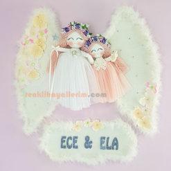 Ece Ela isimli Petunya Melek kanatlı kız Bebek Kapı Süsü