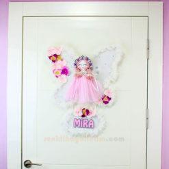 Zambak Melek Kanatlı Kız Bebek Odası Kapı Süsü Gölgeli İsim Kapı