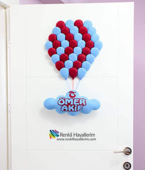 40 Balonlu Bordo Mavi Kapı Süsü - Kapıda