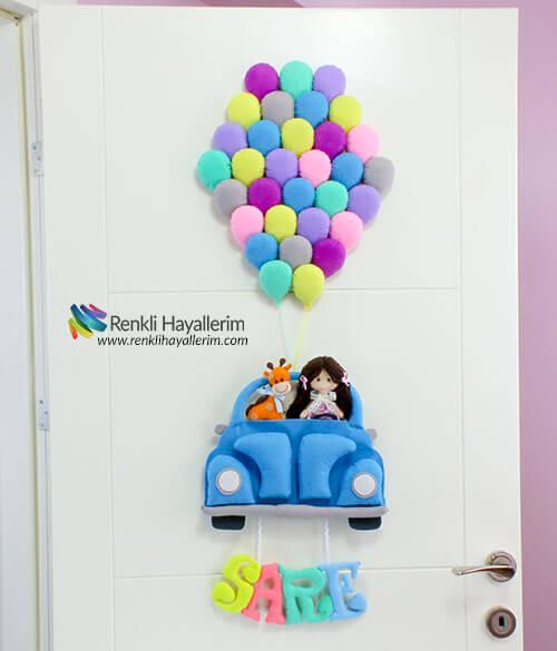 Çok Balonlu Vosvos Bebek Kapı Süsü