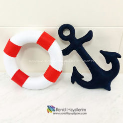 Denizci Çapa ve Deniz Simidi Bebek Takı Yastığı
