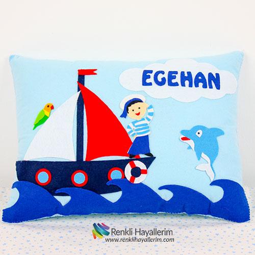 Egehan Denizci Erkek Bebek Takı Yastık