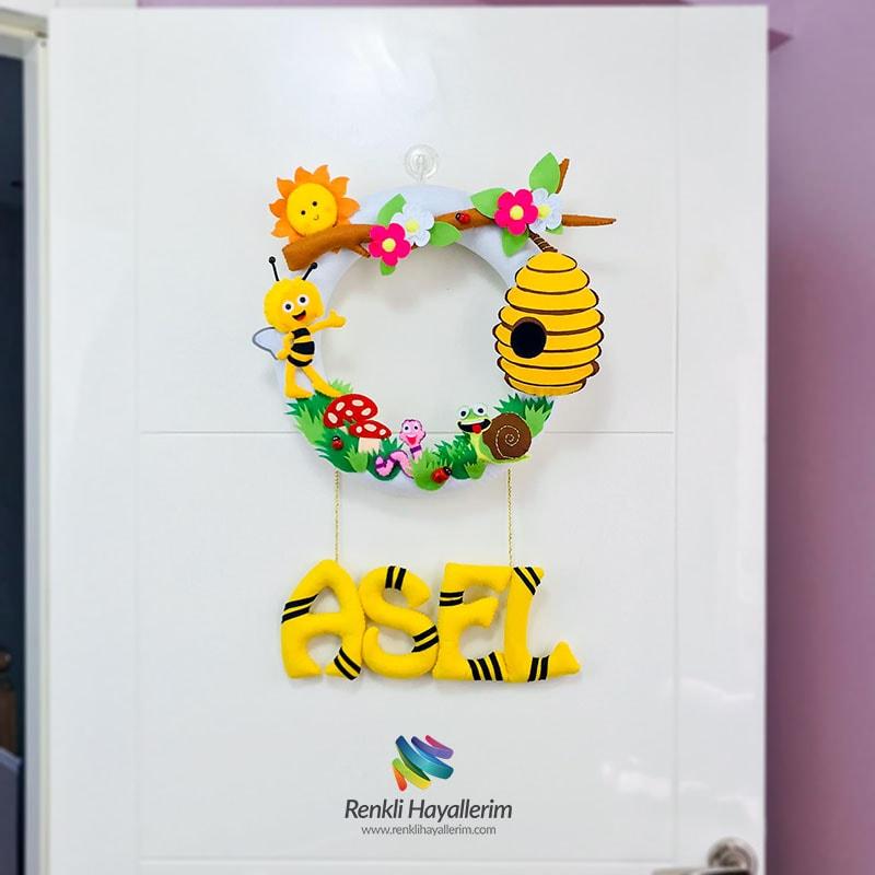 Arı Maya Bebek Kapı Süsü - Asel